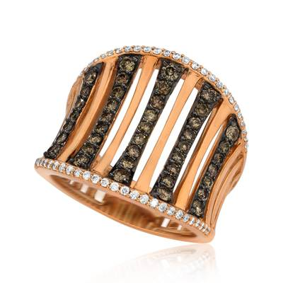 14K Strawberry Gold® Ring with Chocolate Diamonds® 3/4 cts., Vanilla Diamonds® 1/5 cts. | ABRR 2