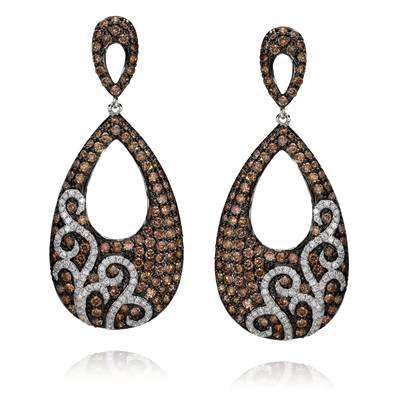 14K Vanilla Gold® Earrings with Chocolate Diamonds® 3  3/8 cts., Vanilla Diamonds® 5/8 cts. | ABSC 13