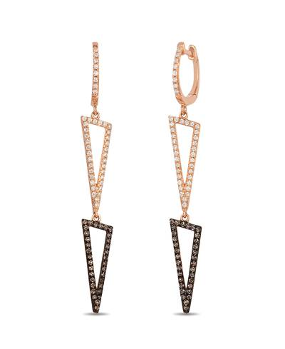 14K Strawberry Gold® Earrings with Vanilla Diamonds® 1/3 cts., Chocolate Diamonds® 1/4 cts. | ABSP 1