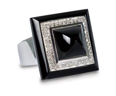 14K Vanilla Gold® Black Agate 10 1/2 cts. Ring with Vanilla Diamonds® 1/3 cts. | ADDQ 20
