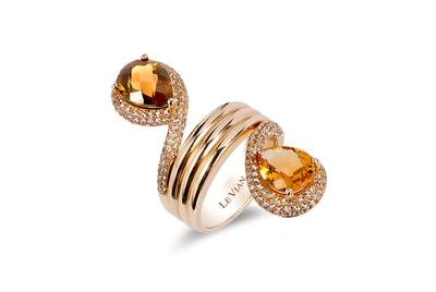 14K Honey Gold™ Caramel Quartz™ 2 cts., Cinnamon Citrine® 1  7/8 cts., Vanilla Topaz™ 1  1/4 cts. Ring | ASKC 12