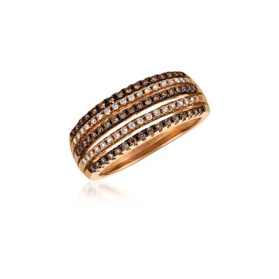 14K Strawberry Gold® Ring with Chocolate Diamonds® 1/5 cts., Vanilla Diamonds® 1/8 cts. | ASKR 2