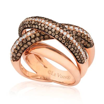14K Strawberry Gold® Ring with Vanilla Diamonds® 1/2 cts., Chocolate Diamonds® 1  1/2 cts. | ASKV 12