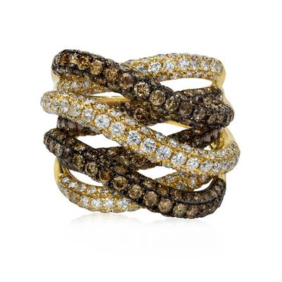 14K Honey Gold™ Ring with Vanilla Diamonds® 1  5/8 cts., Chocolate Diamonds® 2  3/4 cts. | ASKY 52