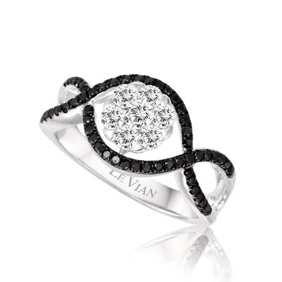 14K Vanilla Gold® Ring with Vanilla Diamonds® 3/8 cts., Blackberry Diamonds® 1/4 cts. | ASLO 20