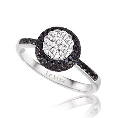 14K Vanilla Gold® Ring with Vanilla Diamonds® 1/4 cts., Black Diamonds 3/4 cts. | ASLO 8