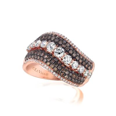 14K Strawberry Gold® Ring with Vanilla Diamonds® 7/8 cts., Chocolate Diamonds® 7/8 cts. | ASLO 93