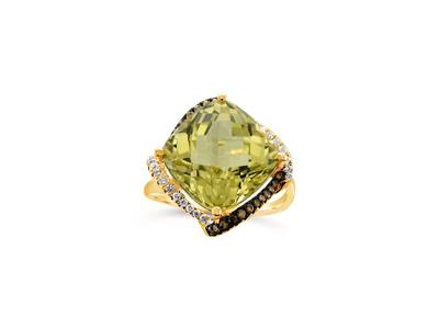 14K Honey Gold™ Lime Quartz™ 7 cts. Ring with Chocolate Diamonds® 1/8 cts., Vanilla Diamonds® 1/8 cts. | ASLP 87
