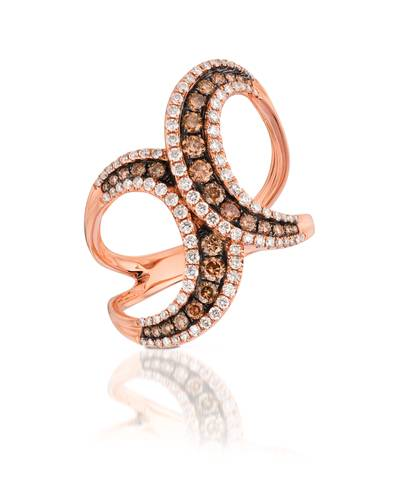 14K Strawberry Gold® Ring with Chocolate Diamonds® 3/8 cts., Vanilla Diamonds® 3/8 cts. | ASMV 76