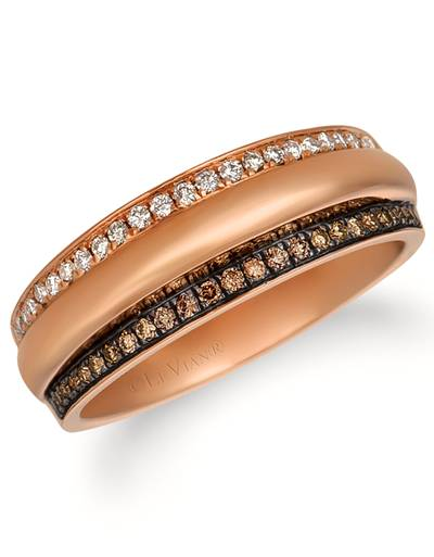 14K Strawberry Gold® Ring with Chocolate Diamonds® 1/10 cts., Vanilla Diamonds® 1/10 cts. | ASMY 37