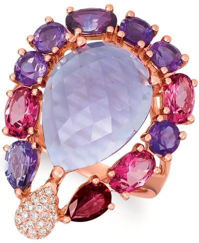 14K Strawberry Gold® Grape Amethyst™ 8  1/4 cts., Purple Topaz 7/8 cts., Pink Topaz 1  1/5 cts., Red Topaz 1/3 cts. Ring with Vanilla Diamonds® 1/8 cts. | ASNS 18