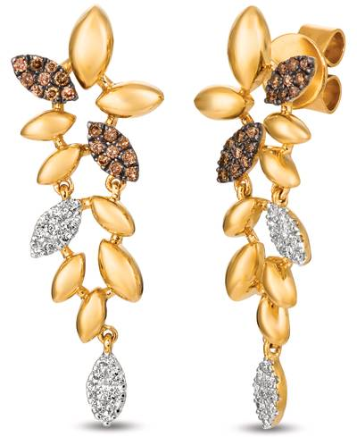 14K Honey Gold™ Earrings with Chocolate Diamonds® 1/8 cts., Vanilla Diamonds® 1/8 cts. | ASNZ 1