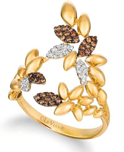 14K Honey Gold™ Ring with Chocolate Diamonds® 1/8 cts., Vanilla Diamonds® 1/15 cts. | ASNZ 5