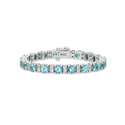 14K Vanilla Gold® Sea Blue Aquamarine® 12 cts. Bracelet with Vanilla Diamonds® 3  1/5 cts. | BAMG 121