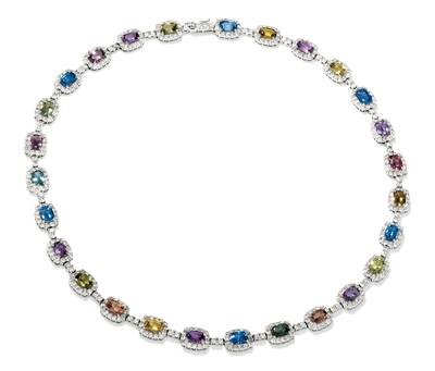 14K Vanilla Gold® Multicolor Sapphire 22 1/5 cts. Necklace with Nude Diamonds™ 10 3/4 cts. | BAMI 56