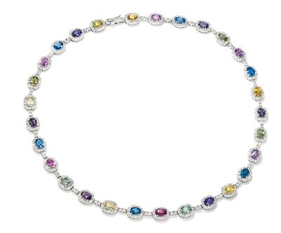 14K Vanilla Gold® Multicolor Sapphire 29 1/2 cts. Necklace with Nude Diamonds™ 10 1/5 cts. | BAMI 65