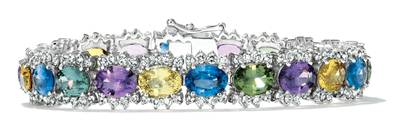 14K Vanilla Gold® Multicolor Sapphire 15 3/4 cts. Bracelet with Nude Diamonds™ 4  1/4 cts. | BAMI 66