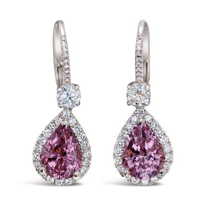 18K Strawberry Gold® Pink Spinel 4  3/4 cts. Earrings | BANA 1