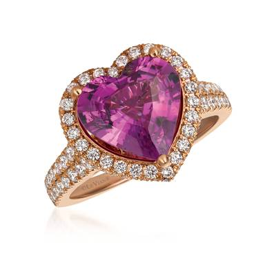 18K Strawberry Gold® Bubble Gum Pink Sapphire™ 4 cts. Ring with Vanilla Diamonds® 7/8 cts., Chocolate Diamonds®  cts. | BANA 4