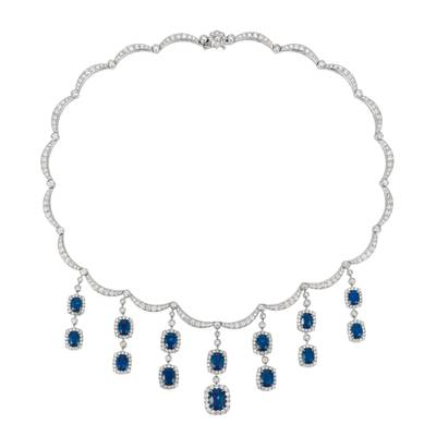 18K Vanilla Gold® Cornflower Ceylon Sapphire™ 15 3/4 cts. Necklace with Vanilla Diamonds® 11 1/2 cts. | BANB 10