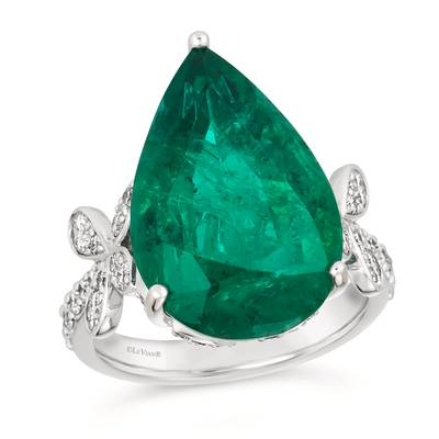 18K Vanilla Gold® Costa Smeralda Emeralds™ 13 1/2 cts. Ring with Vanilla Diamonds® 7/8 cts. | BANB 13