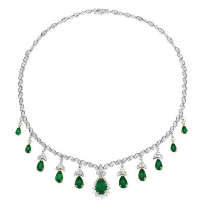 18K Two Tone Gold Costa Smeralda Emeralds™ 16 1/3 cts. Necklace with Vanilla Diamonds® 7  1/2 cts. | BANB 7