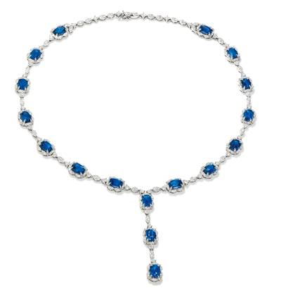 18K Vanilla Gold® Cornflower Ceylon Sapphire™ 23 cts. Necklace with Vanilla Diamonds® 4 cts. | BANB 9
