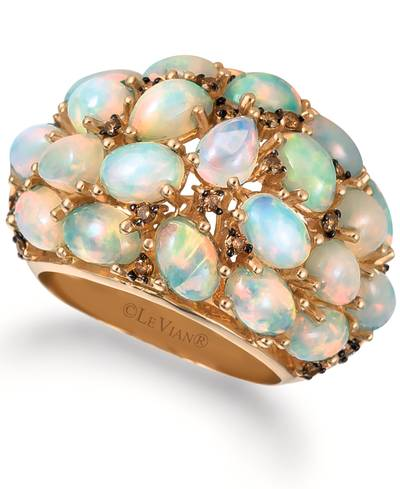 14K Honey Gold™ Neopolitan Opal™ 5  1/3 cts. Ring with Chocolate Diamonds® 1/4 cts. | BHAM 9