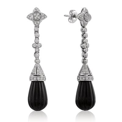 18K Vanilla Gold® Onyx  cts. Earrings | BRI 1