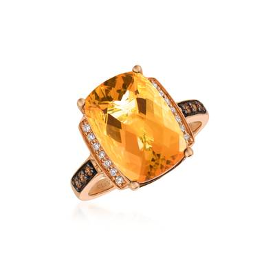 14K Strawberry Gold® Cinnamon Citrine® 5  1/2 cts. Ring | BVBK 37CT