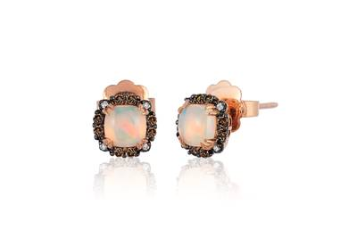 14K Strawberry Gold® Neopolitan Opal™ 3/4 cts. Earrings with Chocolate Diamonds® 1/8 cts., Vanilla Diamonds®  cts. | BVCH 11