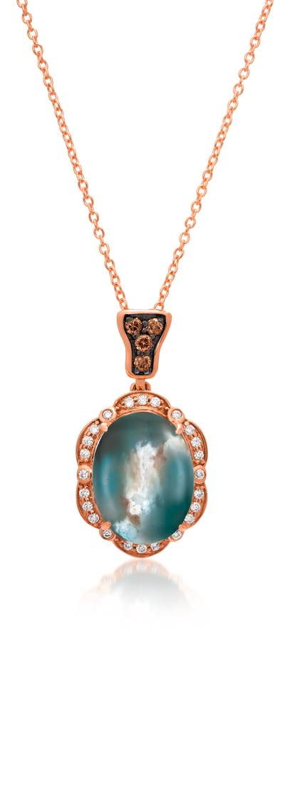 14K Strawberry Gold® Aquaprase Candy 4  1/5 cts. Pendant with Chocolate Diamonds® 1/15 cts., Vanilla Diamonds® 1/8 cts. | BVCM 5AC