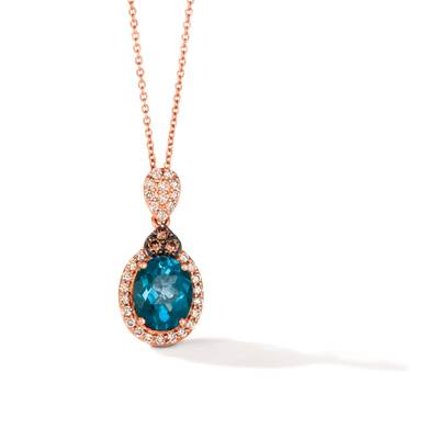 14K Strawberry Gold® Deep Sea Blue Topaz™ 2  1/2 cts. Pendant with Chocolate Diamonds® 1/10 cts., Nude Diamonds™ 1/3 cts. | BVGZ 72