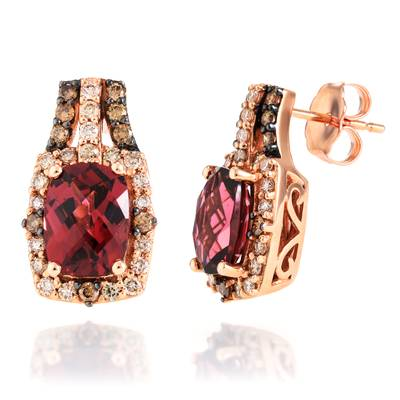 14K Strawberry Gold® Raspberry Rhodolite® 3  1/4 cts. Earrings with Chocolate Diamonds® 1/5 cts., Nude Diamonds™ 1/3 cts. | BVHF 30