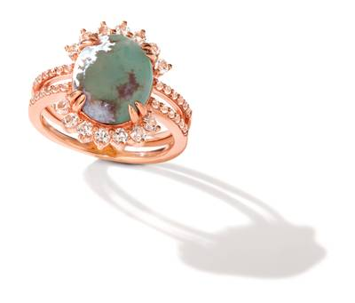 14K Strawberry Gold® Aquaprase Candy 3  1/3 cts., Vanilla Topaz™ 5/8 cts. Ring | BVHY 32
