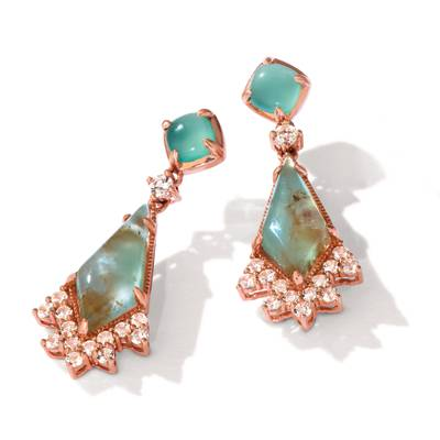 14K Strawberry Gold® Aquaprase Candy 4  3/4 cts., Vanilla Topaz™ 7/8 cts. Earrings | BVHZ 20
