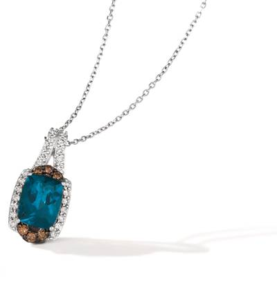 14K Vanilla Gold® Deep Sea Blue Topaz™ 2  1/5 cts. Pendant with Chocolate Diamonds® 1/8 cts., Nude Diamonds™ 1/4 cts. | BVJP 31