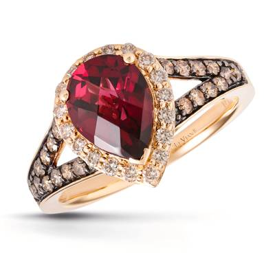 14K Honey Gold™ Raspberry Rhodolite® 1  5/8 cts. Ring with Chocolate Diamonds® 1/3 cts., Nude Diamonds™ 1/4 cts. | BVJR 3D