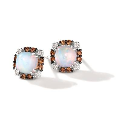 14K Vanilla Gold® Neopolitan Opal™ 3/4 cts. Earrings with Chocolate Diamonds® 1/8 cts., Vanilla Diamonds®  cts. | BVJZ 14
