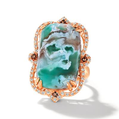18K Strawberry Gold® Sea Blue Aquamarine® 37.180 cts. Ring | BVLO 5