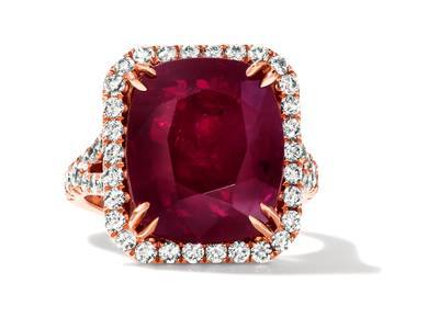 14K Strawberry Gold® Passion Ruby™ 9 cts. Ring with Vanilla Diamonds® 1  3/8 cts. | CONG 336