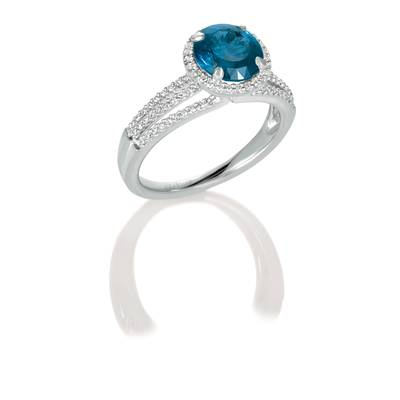 18K Vanilla Gold® Blueberry Sapphire™ 3  1/5 cts. Ring with Vanilla Diamonds® 1/2 cts. | CONG 358