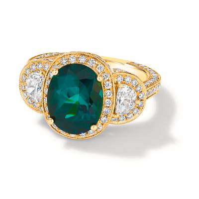 18K Honey Gold™ Neon Green Tourmaline™ 4  1/4 cts. Ring | COT 458