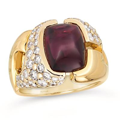 18K Two Tone Gold Raspberry Rhodolite® 3  7/8 cts. Ring | DAAA 12