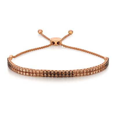 14K Strawberry Gold® Bolo Bracelet with Chocolate Ombré Diamonds® 3 cts. | DEKI 1138