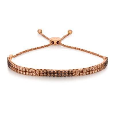 14k Strawberry Gold Bolo Bracelet Ombre Chocolate Diamonds