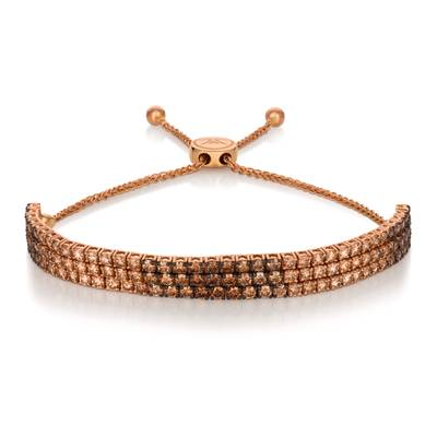 14K Strawberry Gold® Bolo Bracelet with Chocolate Ombré Diamonds® 5 cts. | DEKI 1139