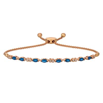 14K Strawberry Gold® Blueberry Sapphire™ 1  1/8 cts. Bolo Bracelet with Vanilla Diamonds® 1/5 cts. | DEKI 1225