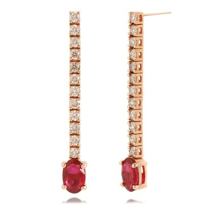 14K Strawberry Gold® Passion Ruby™ 7/8 cts. Earrings with Nude Diamonds™ 1/2 cts. | DEKI 1530