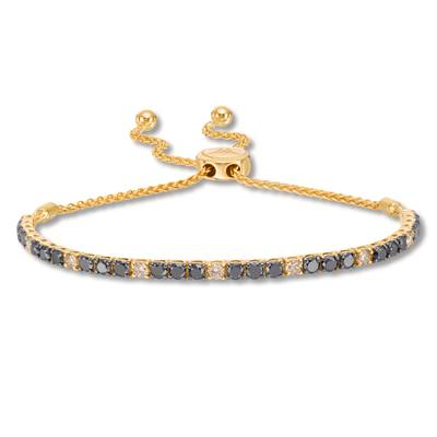14K Honey Gold™ Bolo Bracelet with Black Diamonds 1  1/2 cts., Nude Diamonds 1/2 cts. | DEKI 159BKCB
